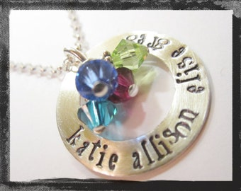Hand Stamped Washer Necklace with birthstone charms