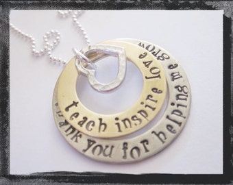 Personalized Jewelry -Hand Stamped Necklace - Mixed Metals Teacher Necklace