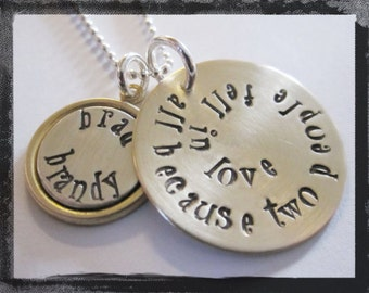 Personalized Jewelry - Wedding Jewelry - Handstamped in Mixed Metals - because two people fell in love