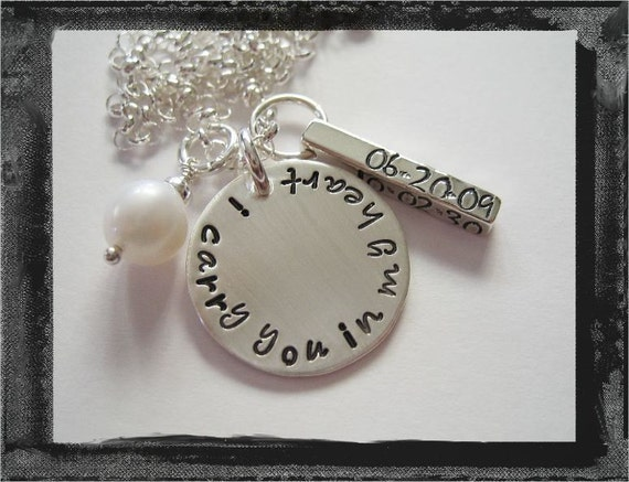 Remembrance Necklace - Personalized Necklace - Hand Stamped Jewelry - I Carry You in My HEART...