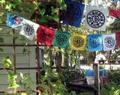 Dharma Prayer Flags with Tibetan Compassion Mantra / string of 10 silkscreened flags