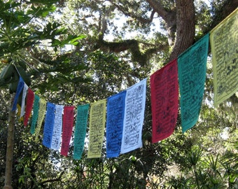 Silkscreened Tibetan Prayer Flags - string of 15
