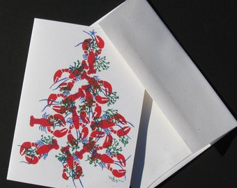 Lobster Tree Christmas Cards - Box of 6