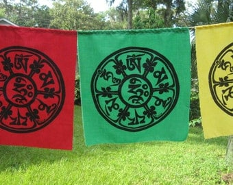 Compassion Mantra Silkscreened Prayer Flags - string of 5