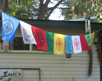 Blessings on the Wind string of 10 assorted prayer flags