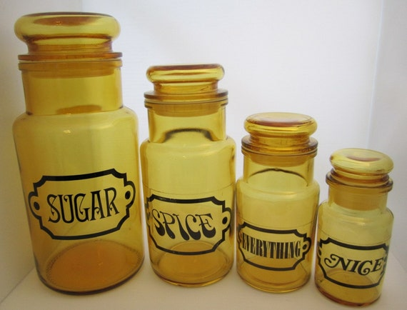 SALE - Was 40 - Amber Glass Sugar Spice & Everything Nice Canister Jars