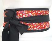 Looby Lou Obi belt - Mini blossom on red