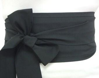 Long Plus size Obi belt sash - Plain Black - kimono yukata robe belt