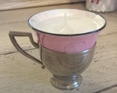 Pink lusterware demitasse teacup candles with silverplate holders