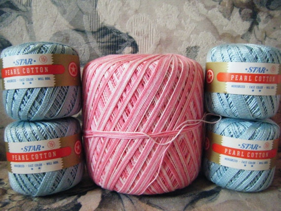 reserved for sam pink and blue for you 5 rolls of crochet thread