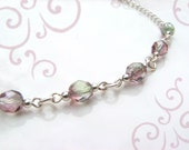 Pink and Green Clear Glass Silver Chain Anklet 11 Inches Sizeable