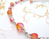 Pink and Orange Sunset Glass Beaded Silver Sizeable Necklace 16  to 19 Inches