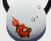 What a Fishy Goldfish Pony Tail Holder X-Large Ouchless Thick Band by MJD Boutique GWBG