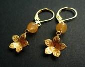 Tiny Cherry Blossom Earrings -- Honey Jade