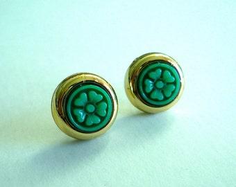 Blossom Stud Earrings -- Emerald Green