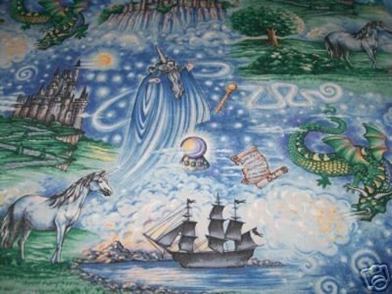 Retired Mystical Wizard Quilt Fabric Unicorn Dragon Castle
