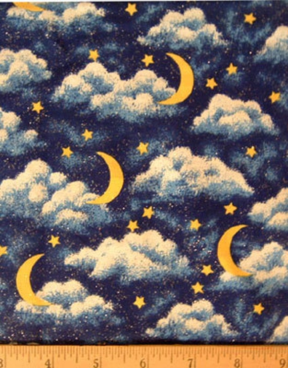 Moon star clouds quilt fq fabric celestial stars fat for Moon and stars fabric