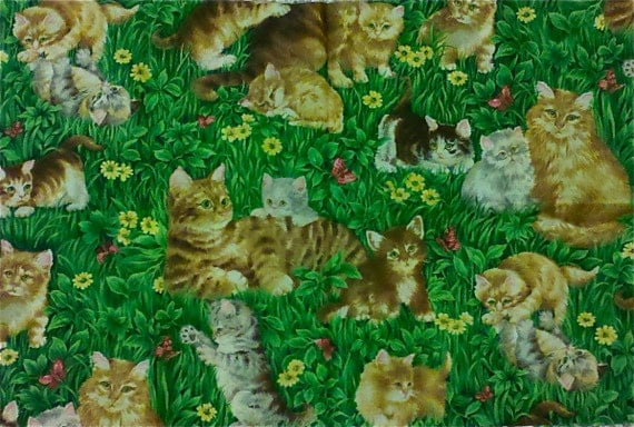 CATS in the MEADOW Quilt Fabric - Kittens Flowers Butterflies - Retired & LAST Cut