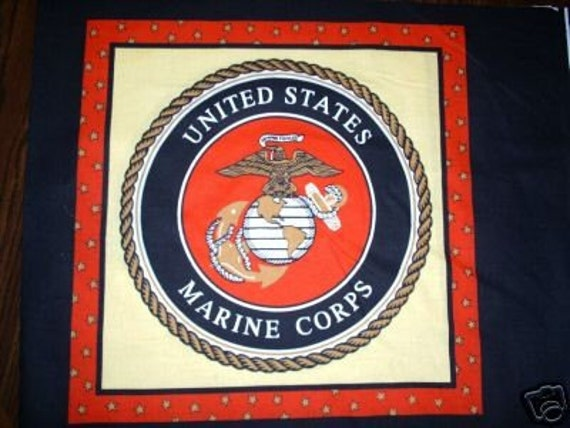 Marine Corps Pillow Panel Quilt Fabric Military Marines
