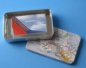 Recycled Map tin Gift Card, certificate, or money Holder customized to your favorite location, city, state, landmark
