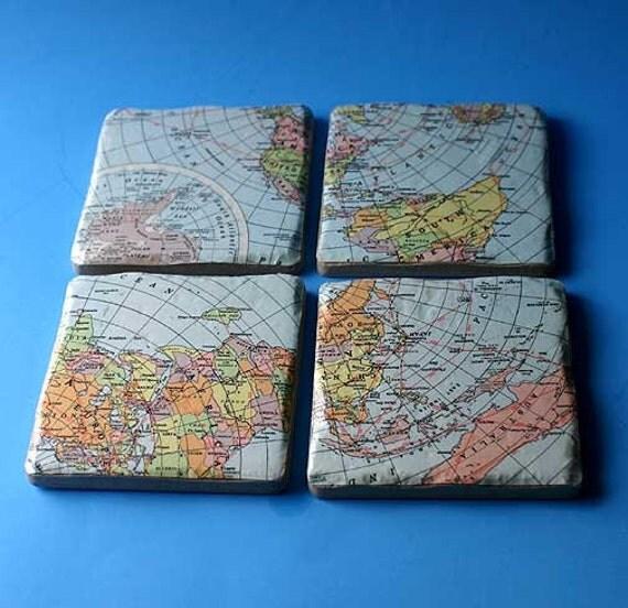 Vintage map Style Coasters   custom