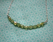 peridot side stack necklace