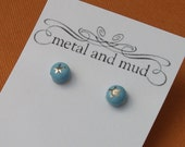 Tiny Stud Ceramic Earrings - Teal Star