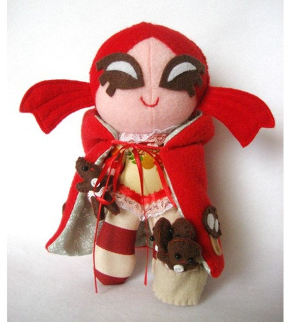 Little Red Riding Hood with Mushroom Hoodie Cape and Gingerbread Men -- Doll Plush