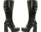 sz 7.5 Platform Knee High Boots in Black Leather-Like Vinyl