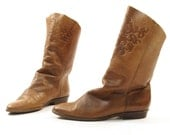 SALE sz 6 Soft Ankle Boots in Brown Leather vintage 1980's