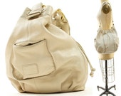 Sigrid Olsen Drawstring Bucket Bag in Creme Leather