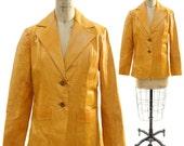 SALE 70s Amber Leather Blazer Starsky & Hutch Style