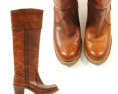 70s FRYE Campus Boots with Cuff / Mahogany Brown Leather / Women's sz 5.5