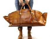 RESERVED for irelandatheart GIANT Leather Tote or Carry On Bag in Honey Brown