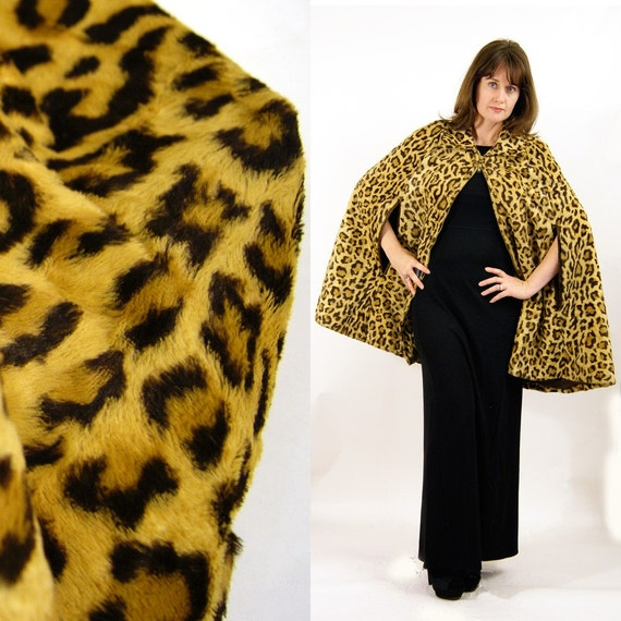 vintage Cheetah Fur Cape or Poncho from France