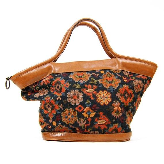 Sale Vintage Tapestry Amp Leather Carpet Bag