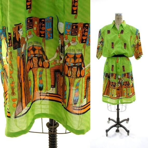 1980's Neon Egyptian Revival Shirt Dress