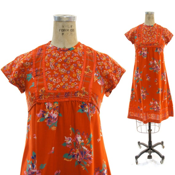 70s Floral Trapeze Festival Dress with Empire Tie Waist