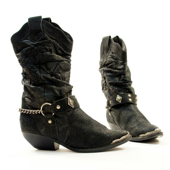 Sz 7 5 Metal Toe Tip Slouchy Cowboy Boots With Ankle Harness
