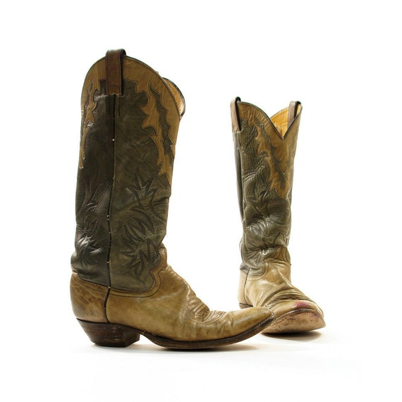 sz 11 Justin Two Tone Cowboy Boots