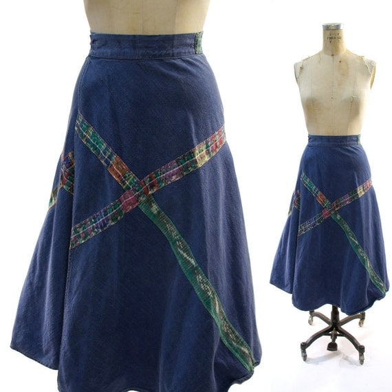 SALE 70's Wrap Around Denim A-Line Skirt with Guatemalan Fabric Insets