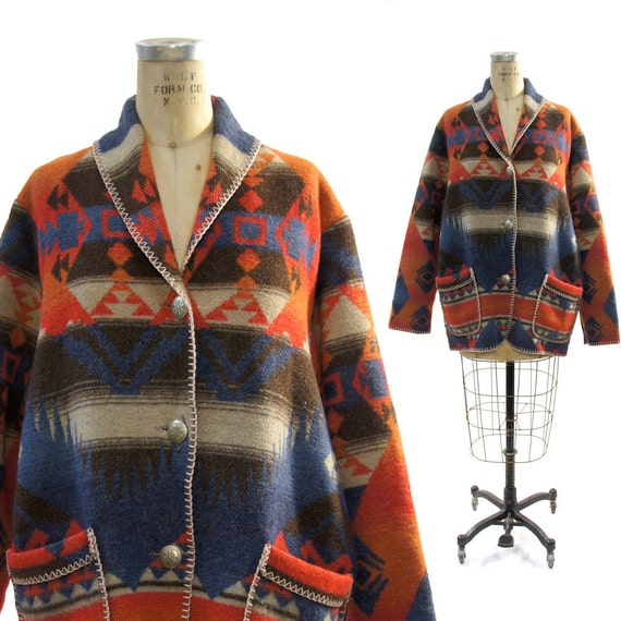 Southwest Wool Blanket Jacket In Native American Inspired