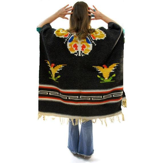 Thunder Bird Woven Southwest Blanket Poncho