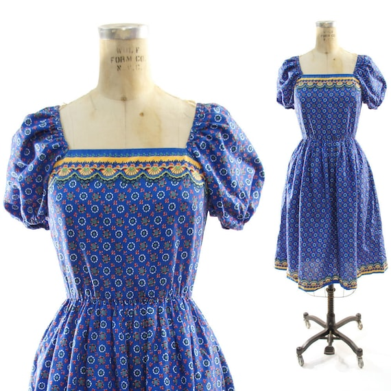70s Bohemian Folk Dress with Full Skirt & Puff Sleeves