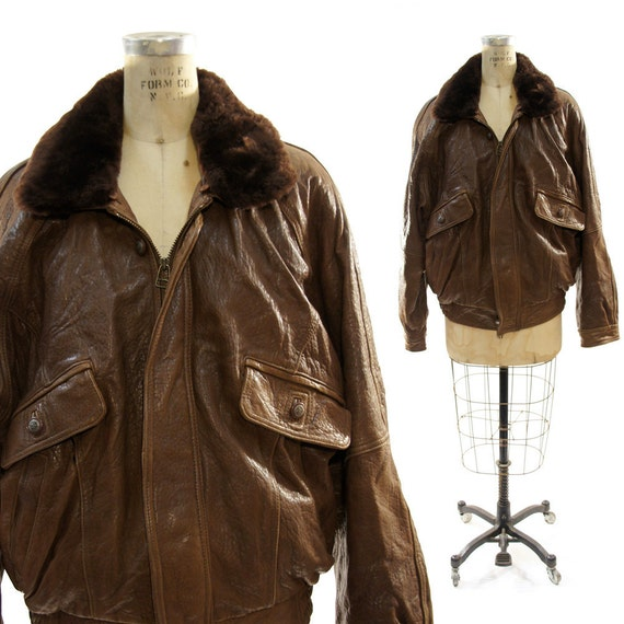 SALE Leather Bomber Jacket with Removable Faux Fur Collar / Men's XL