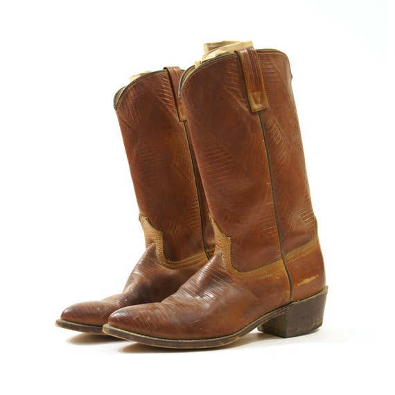 acme brown embossed leather cowboy boots s sz 8 5