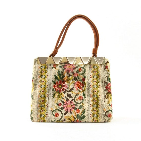 50s Needlepoint Tapestry Handbag with Metal Purse Frame