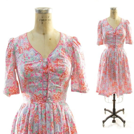 80s Handmade Floral Cotton Sweetheart Dress