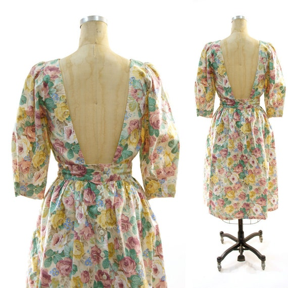 80s Low Back Floral Cotton Sweetheart Dress