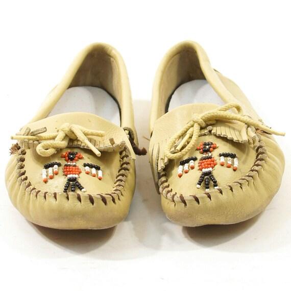 Minnetonka Moccasin Loafers with Beading & Fringe / Men's sz 7 / Women's sz 8